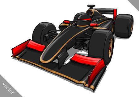 childs funny fast cartoon formula race car vector illustration