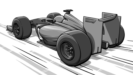 child funny cartoon formula race car illustration 版權商用圖片