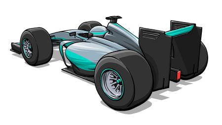 bolide: back view funny fast cartoon formula race car illustration