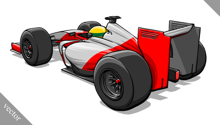 bolide: back view funny fast cartoon formula race car vector illustration