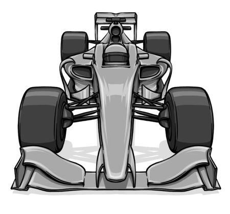 grand prix: front view funny fast cartoon formula race car illustration