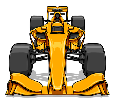 prix: front view funny fast cartoon formula race car illustration
