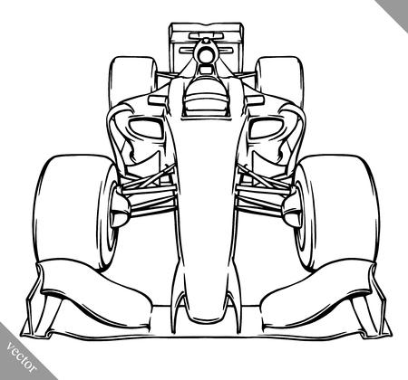 bolide: front view fast cartoon formula race car illustration