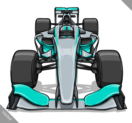 bolide: front view vector fast cartoon formula race car illustration