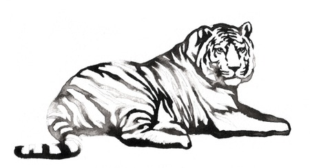 black and white monochrome painting with water and ink draw tiger illustration Banco de Imagens