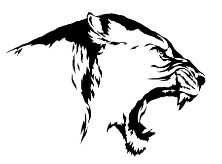 Linéaire noir et blanc tirage lion illustration Banque d'images - 59716027
