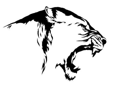 Zwart en wit lineaire draw leeuwillustratie Stockfoto - 59716027