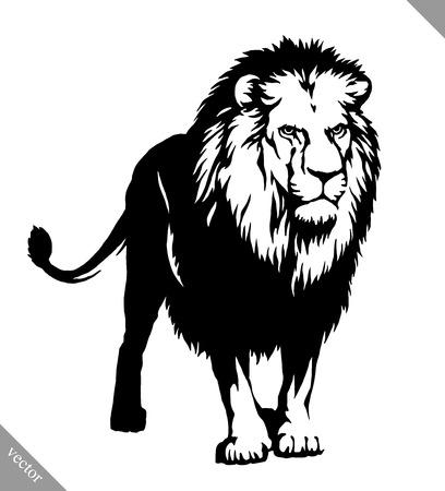 blanco y negro empate lineal ilustración del vector del león