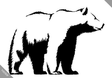 Schwarz-Weiß-gravieren Tinte zeichnen Bär Vektor-Illustration