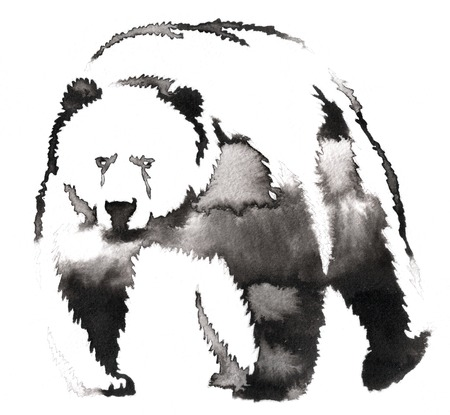black and white monochrome painting with water and ink draw bear illustration