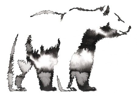 agressive: black and white monochrome painting with water and ink draw bear illustration
