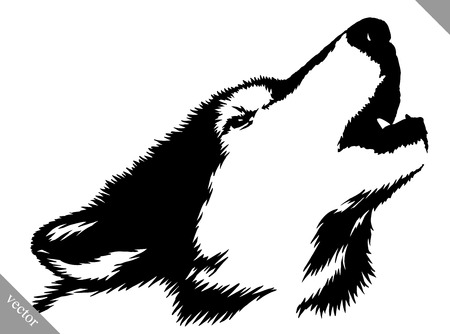black and white linear paint draw wolf illustration Vectores
