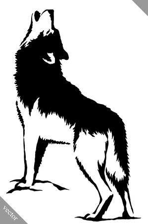 black and white linear paint draw wolf illustration  イラスト・ベクター素材