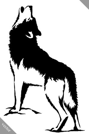 black and white linear paint draw wolf illustration Ilustração