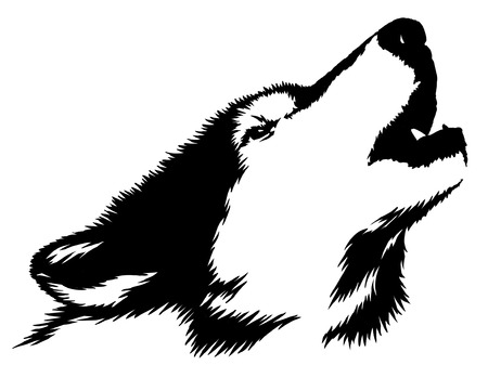head shape: black and white linear paint draw wolf illustration Stock Photo