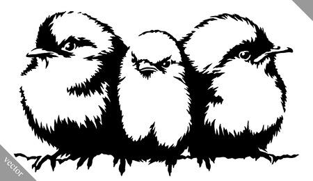 blanco y negro pintura lineal sorteo ilustración vectorial Pájaro del gorrión Ilustración de vector