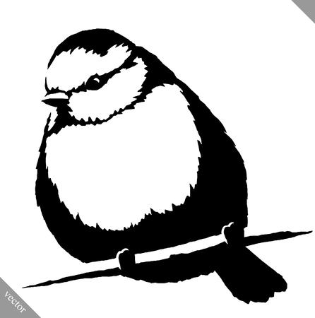 blanco y negro ilustración lineal pájaro del tit Ilustración de vector