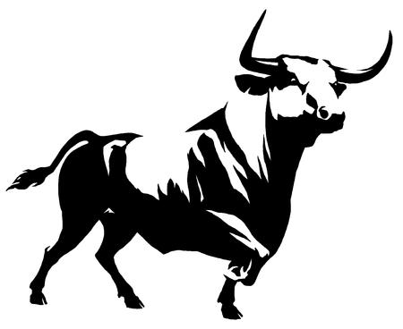 bull pen: black and white linear draw bull illustration