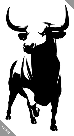 black and white linear draw bull illustration