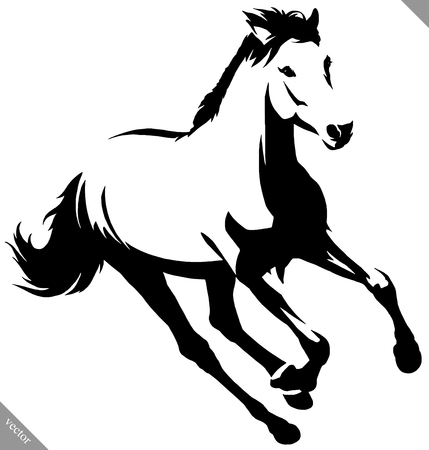 black and white linear draw horse illustration Illustration