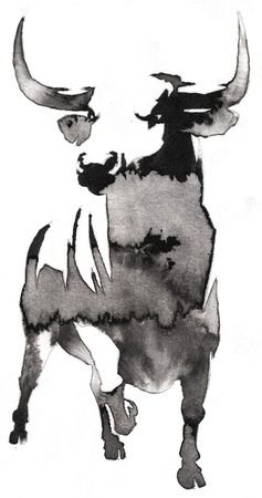 black and white painting with water and ink draw bull illustration Imagens - 64229642