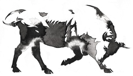 black and white painting with water and ink draw bull illustration