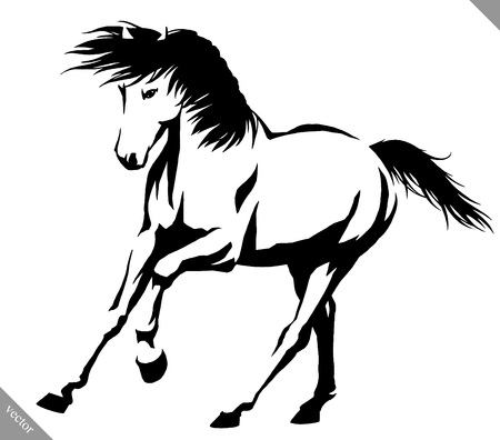 on white: black and white linear draw horse vector illustration