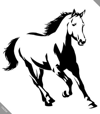 black and white linear draw horse vector illustration