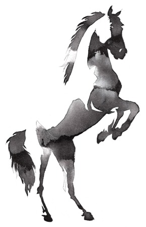 black and white painting with water and ink draw horse illustration
