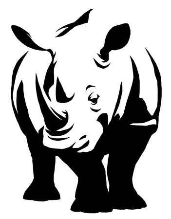 black and white linear paint draw rhino illustration Imagens - 71557000