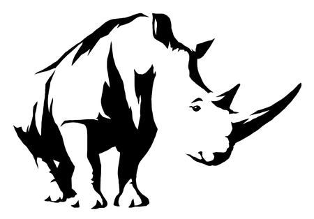 black and white linear paint draw rhino illustration