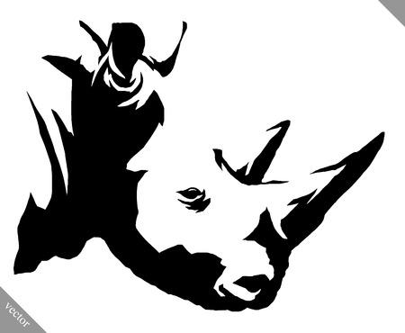 rhino vector: black and white linear paint draw rhino vector illustration
