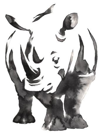 물과 잉크 그리기 코뿔소 그림 흑백 모노크롬 회화 스톡 콘텐츠