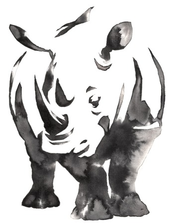 black and white monochrome painting with water and ink draw rhino illustration 版權商用圖片 - 72435373
