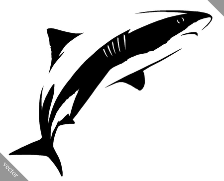 power giant: black and white linear paint draw shark illustration