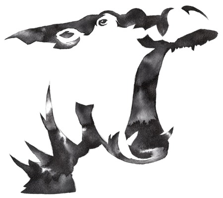 behemoth: black and white monochrome painting with water and ink draw Hippo illustration