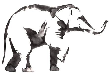 black and white monochrome painting with water and ink draw elephant illustration
