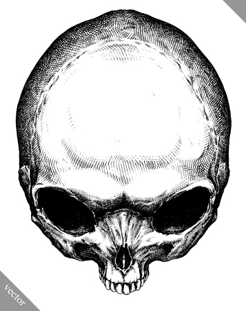 invader: Engrave isolated alien skull hand drawn graphic vector illustration