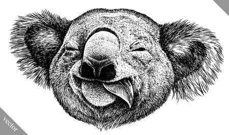 Blanco y negro icono de Koala. Ilustración de vector