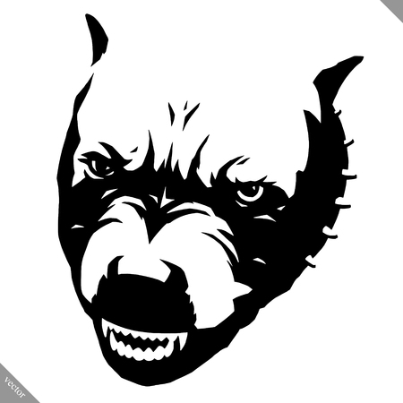 Black and white linear paint draw dog vector illustration Illustration