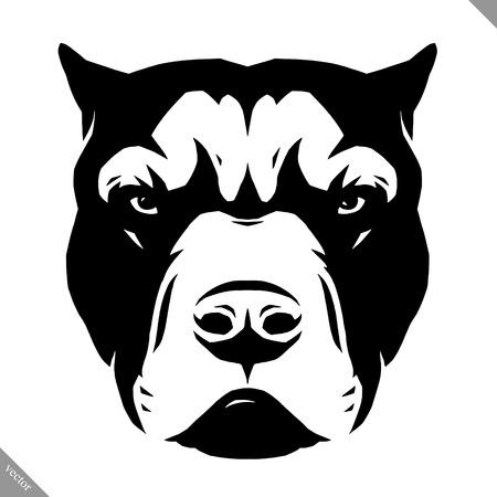 흑인과 백인 선형 페인트 그리기 개 벡터 일러스트 레이션 일러스트