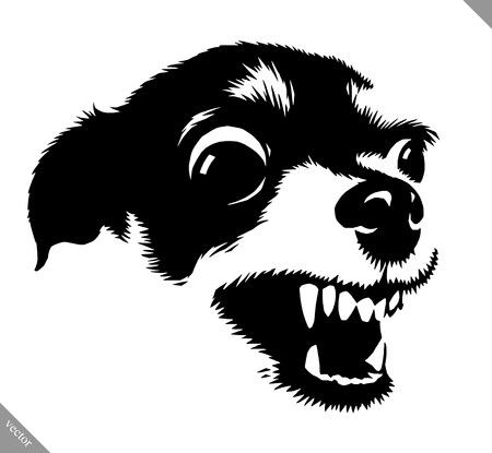 Black and white linear paint draw dog vector illustration Stok Fotoğraf