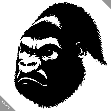Black and white linear paint draw monkey vector illustration.