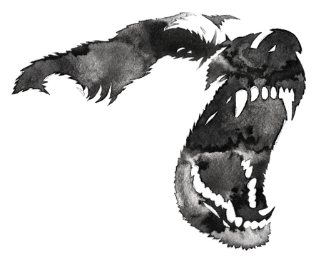 black and white monochrome painting with water and ink draw dog illustration