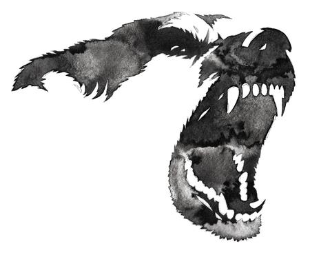 zwart-wit zwart-wit schilderij met water en inkt tekenen hond illustratie