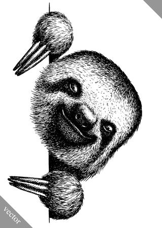 Blanco y negro, grabar, aislado, perezoso, vector, ilustración Foto de archivo - 91634760