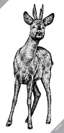 zwart en wit graveren geïsoleerde herten vectorillustratie Vector Illustratie
