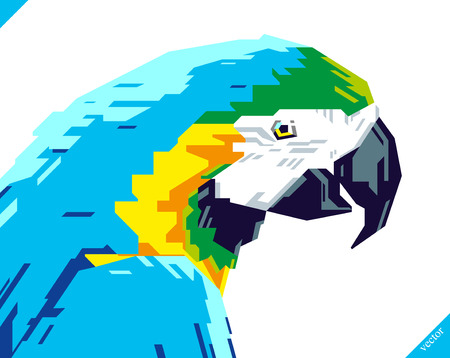 Pop art portrait of beautiful parrot. Vector illustration Ilustração
