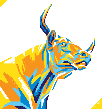 Pop art portrait of beautiful bull. Vector illustration art