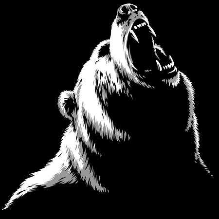 engrave isolated bear illustration sketch linear art Imagens - 122310579